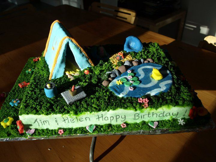 Cake Decorating Ideas Outdoors : Camping Cake at 38! Camping cakes, Themed cakes and Cake