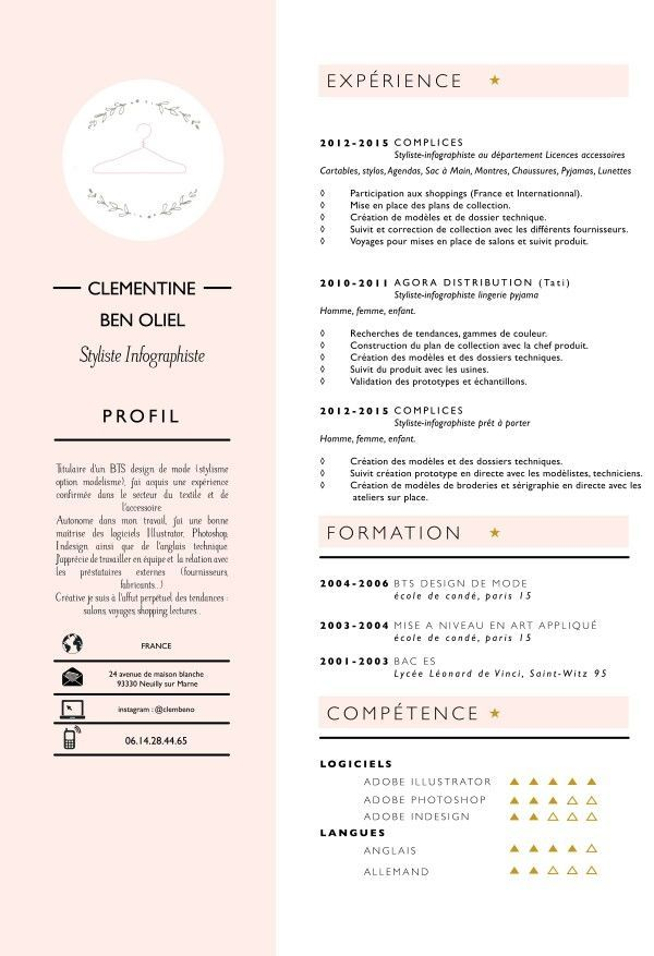 Cv Remis A Jour Illustrator Photoshop Fashion Designer Styliste Fashion Resume Creative Cv Resume Design Creative