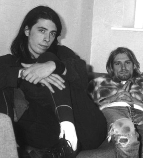 "Dave Grohl on the last time he saw Kurt: ""I called Kurt after Rome [where Cobain overdosed]. I said, 'Hey, man, that really scared everybody, & I don't want you to die.' Then I saw him at our accountant's office [later in Seattle]. He was walking out as I was walking in. He smiled and said, 'Hey, what's up?' And I said, 'I'll give you a call,' and he said, 'Okay.'"""
