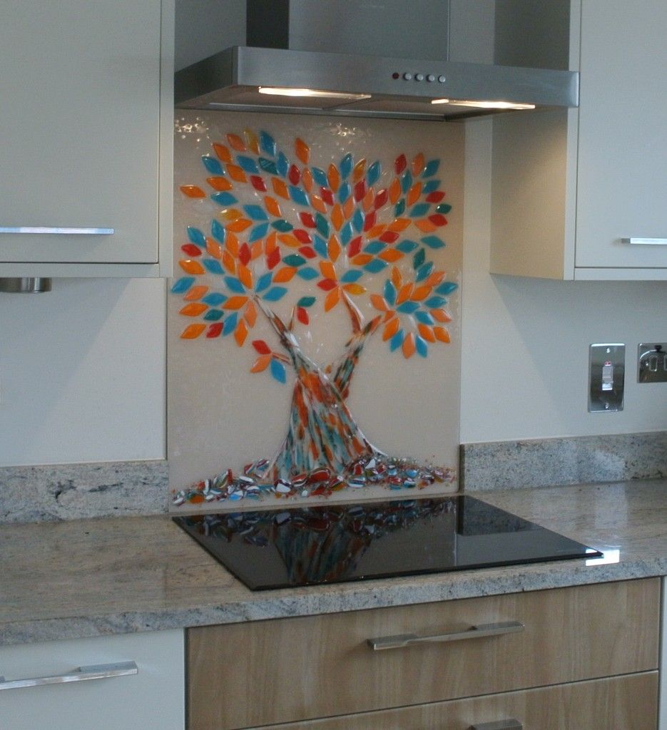 Bespoke Hand Made Tree Of Life Glass Splashback In Turquoise And