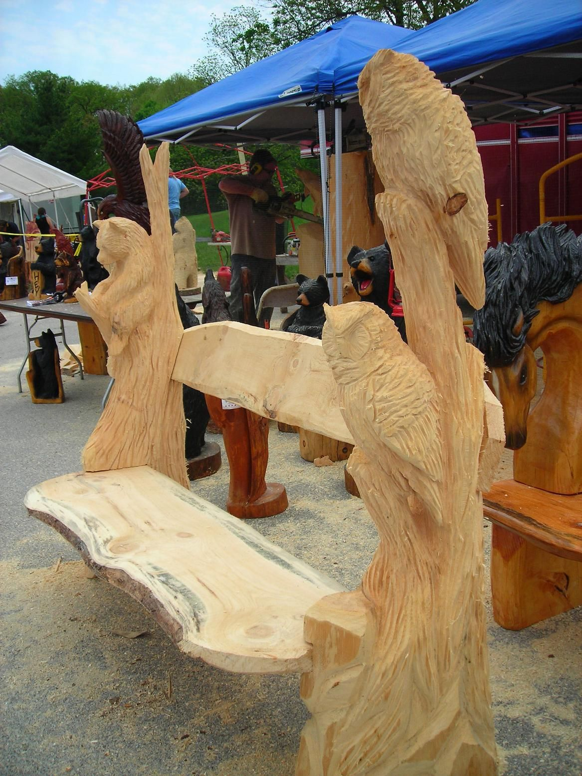 Chainsaw carved owl bench google search