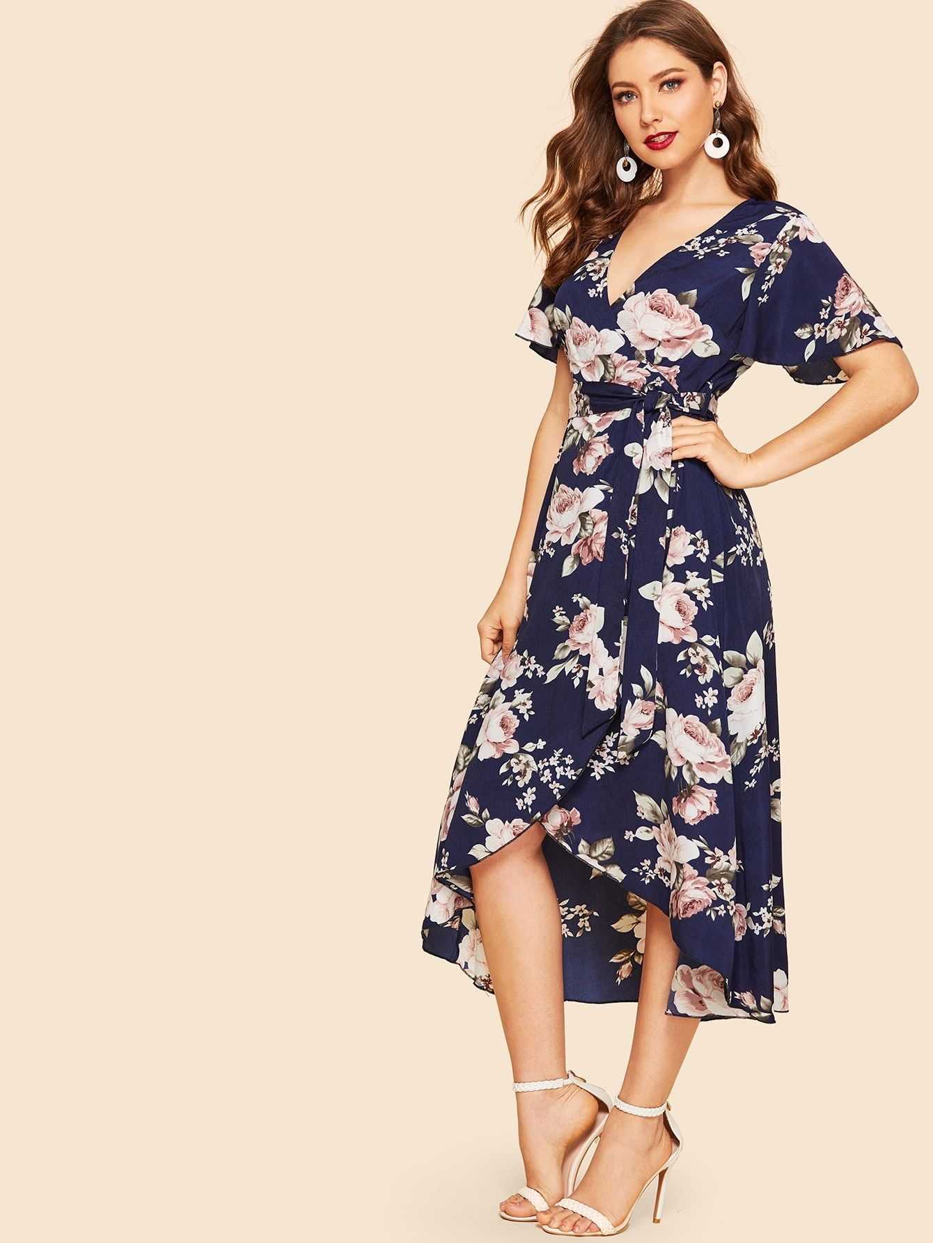 6e9b11c7eb16 Boho A Line Floral Fit and Flare Asymmetrical Deep V Neck Short Sleeve  Flounce Sleeve High Waist Navy Long Length 50s Wrap Front Self Belted Dip Hem  Floral ...