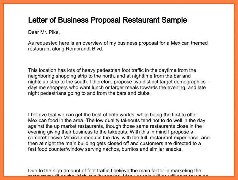 6+ business proposal letter for restaurant | Bussines