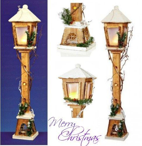 pre lit christmas lamp post indoor home decoration warm led light wooden holiday christmas lamp