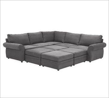 Pearce Upholstered 6 Piece Pit Sectional Everydaysuede Tm Metal Gray Traditional