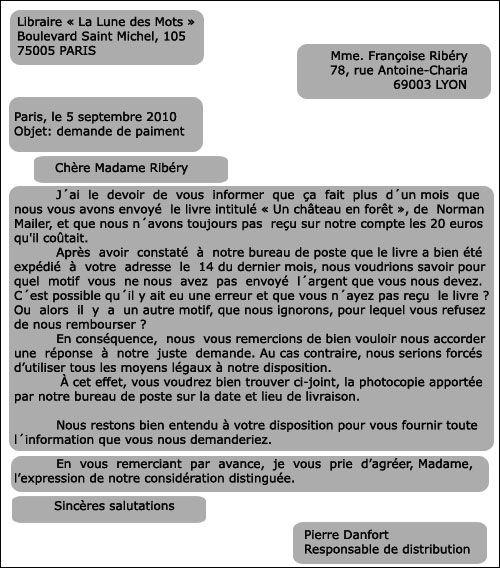 Une Lettre Formelle Lettre En Francais Apprentissage De