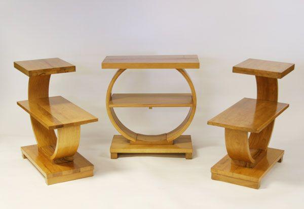 High Quality Three Modern Art Deco Bent Wood End Tables | Antique Helper