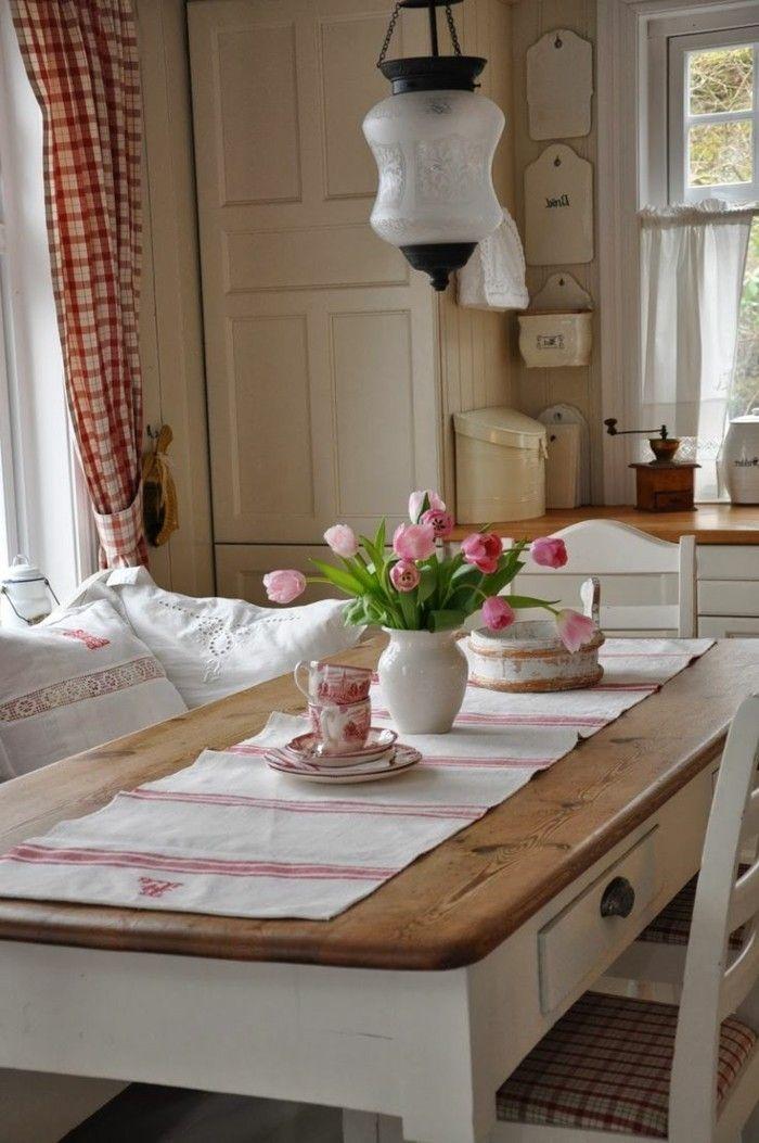 esszimmer landhausstil weiße möbel gardinen kariert - Gardinen Landhausstil Wohnzimmer