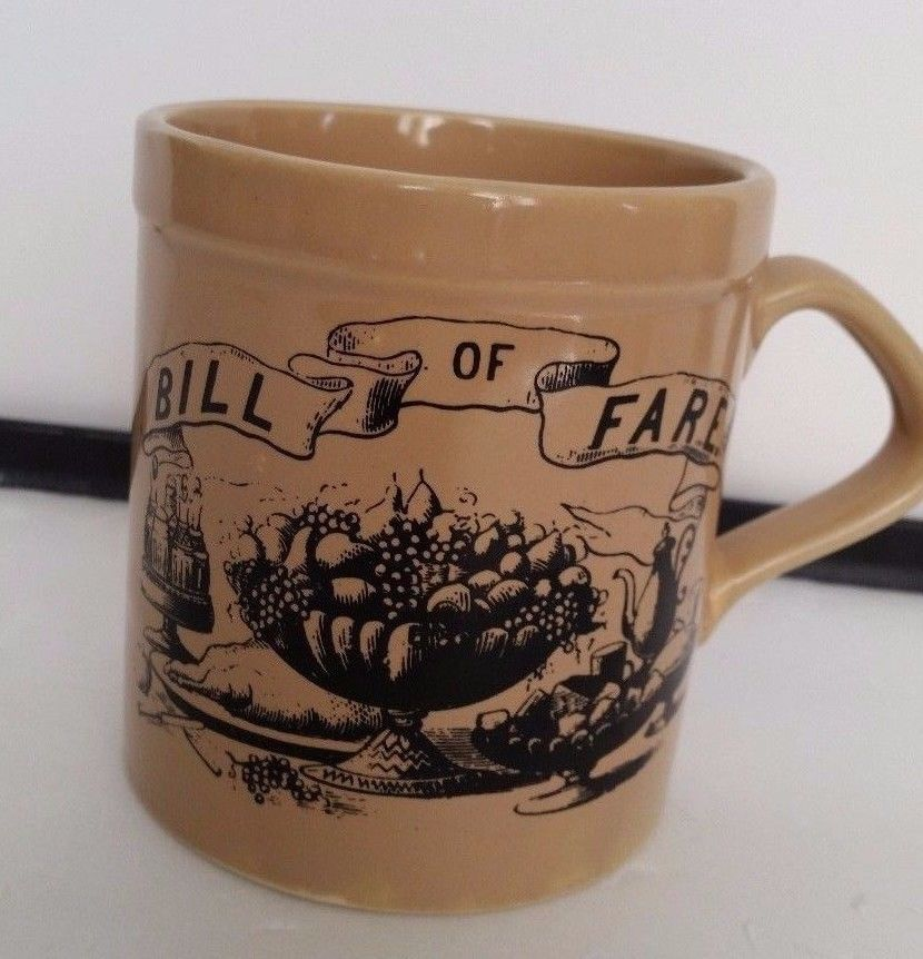 vintage ink drawing coffee cup tan mug japan rare bill of fare
