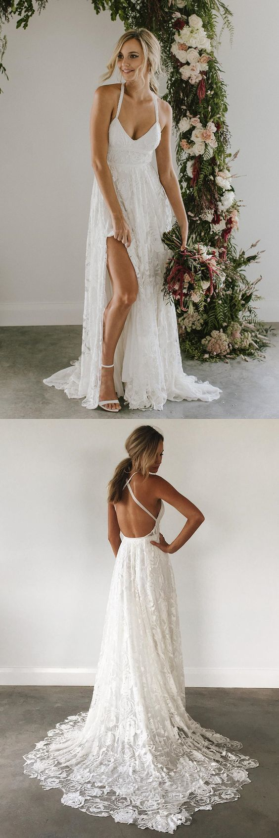 Sexy beach wedding dress white v neck wedding dress lace long