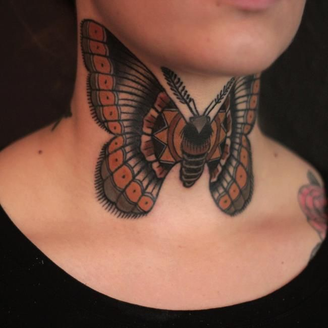 By Ibi Rothe Leipzig Vintage Tattoos Butterfly Neck Tattoo Tattoos Front Neck Tattoo