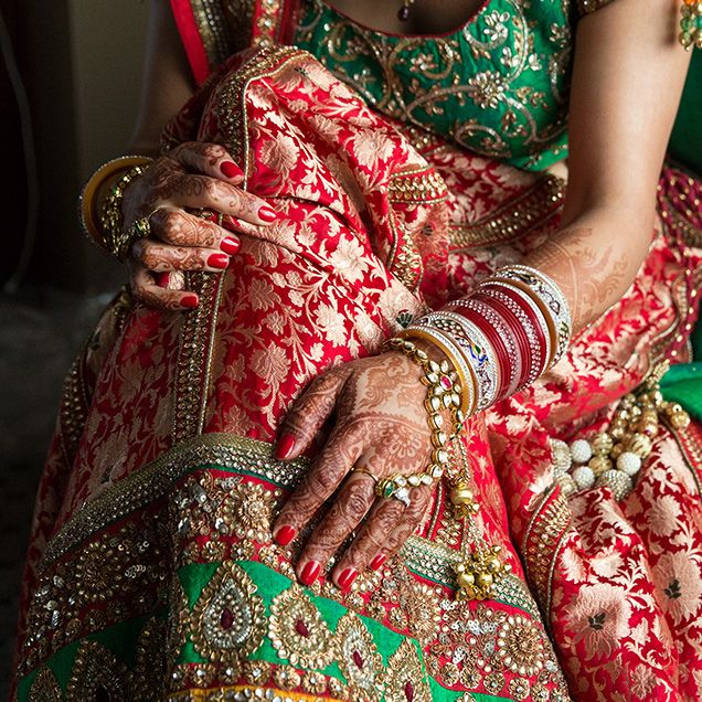 A Gorgeous Red And Green Indian Wedding Lengha
