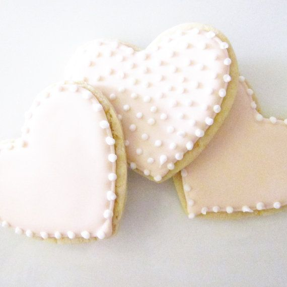 Pretty in Pink Heart Cookies by thePieceDeResistance on Etsy, $30.00
