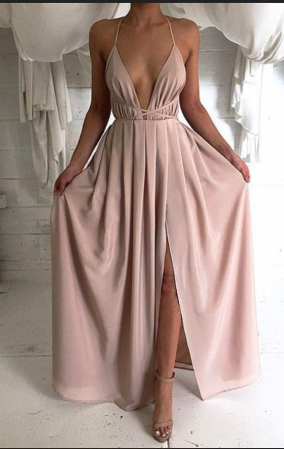 New Style Sexy Backless Long V-Neck Halter Sleeveless Simple Cheap ...