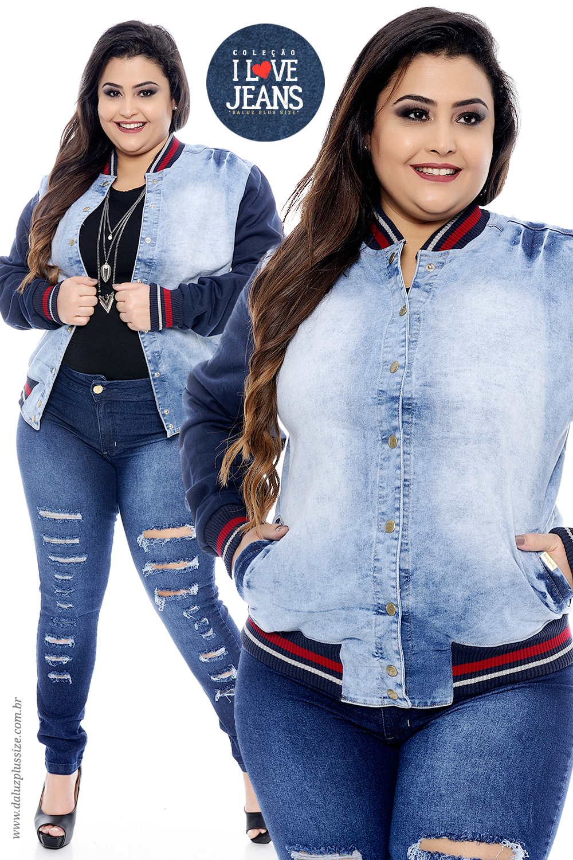 aa5d40c3d Jaqueta Bomber Plus Size Fontana - Coleção I Love Jeans Plus Size -  daluzplussize.com.br