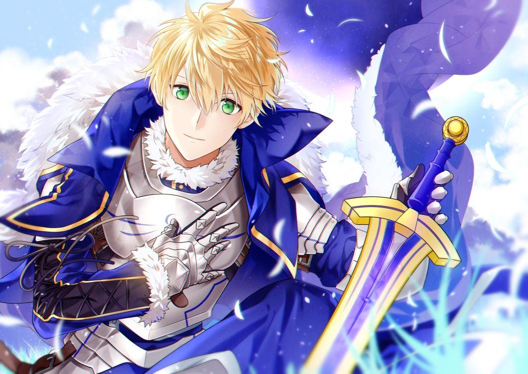 All Male Armor Blonde Hair Cape Fate Grand Order Fate Series Gloves Green Eyes Kurisu Takumi Male Saber Short Hair Sword We Anime Arthur Pendragon Anime Guys