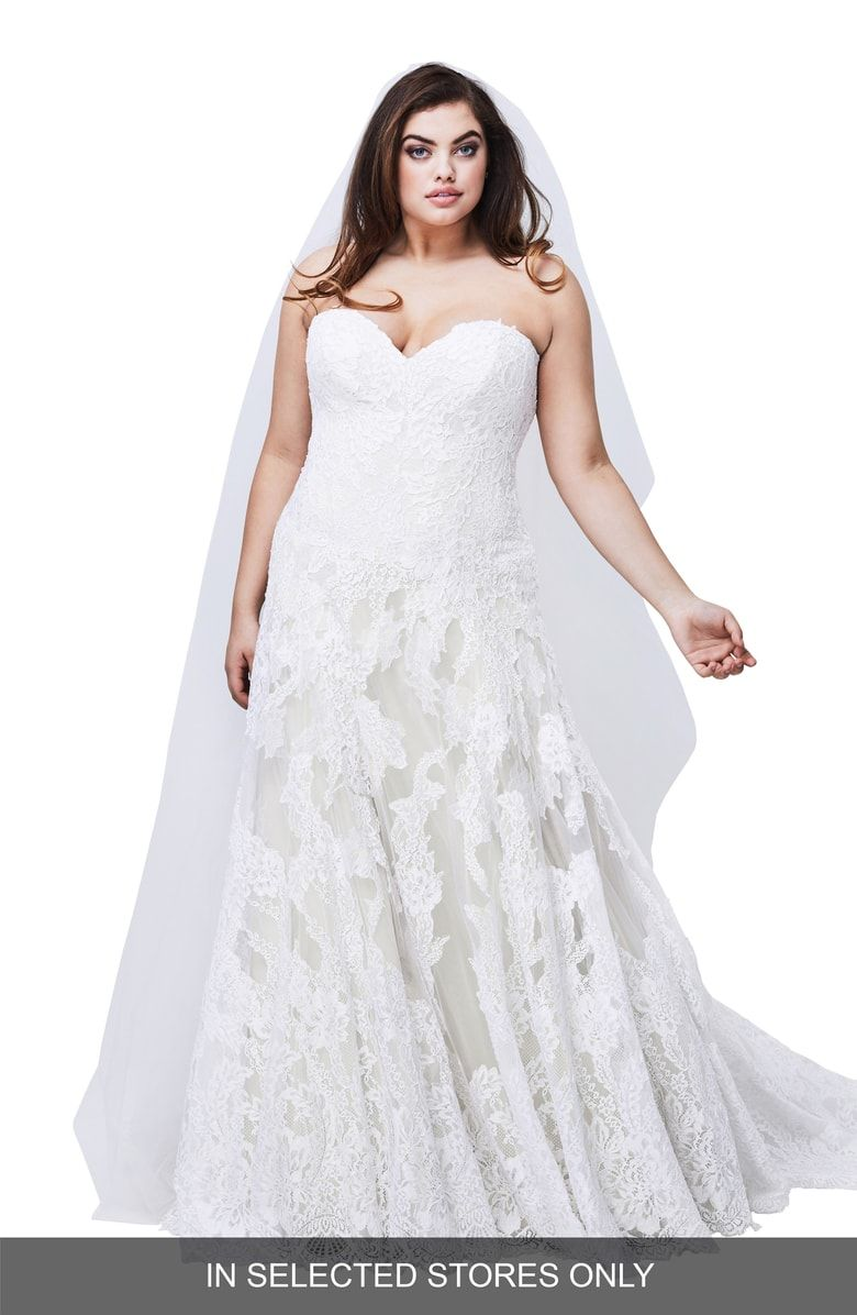 Free Shipping And Returns On Watters Lyric Strapless Lace Gown Plus Size At Nordstrom Com Wedding Dresses Lace Ballgown Bridal Dresses Designer Wedding Gowns