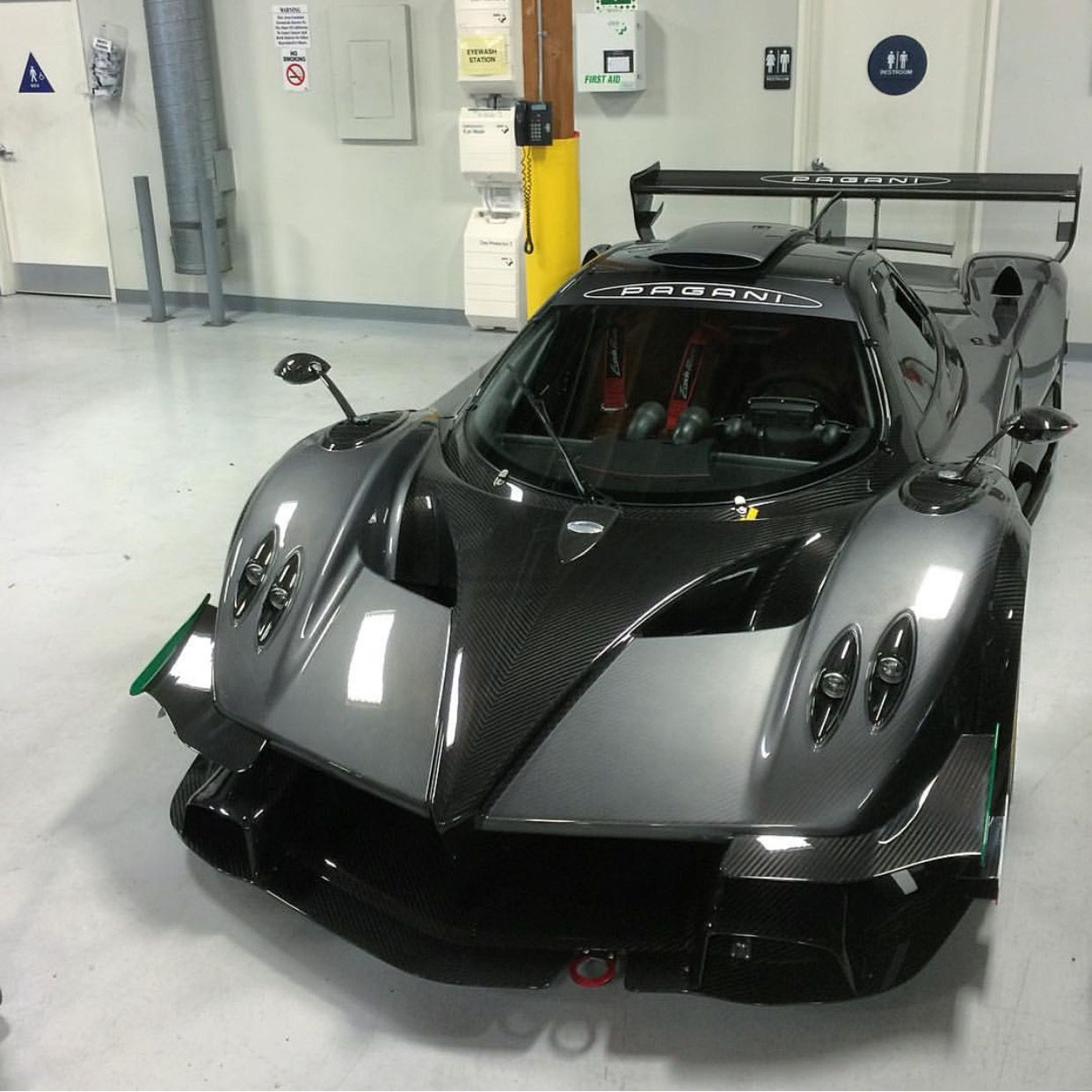 Pagani Zonda R Painted In Dark Gray Made Out Of Exposed