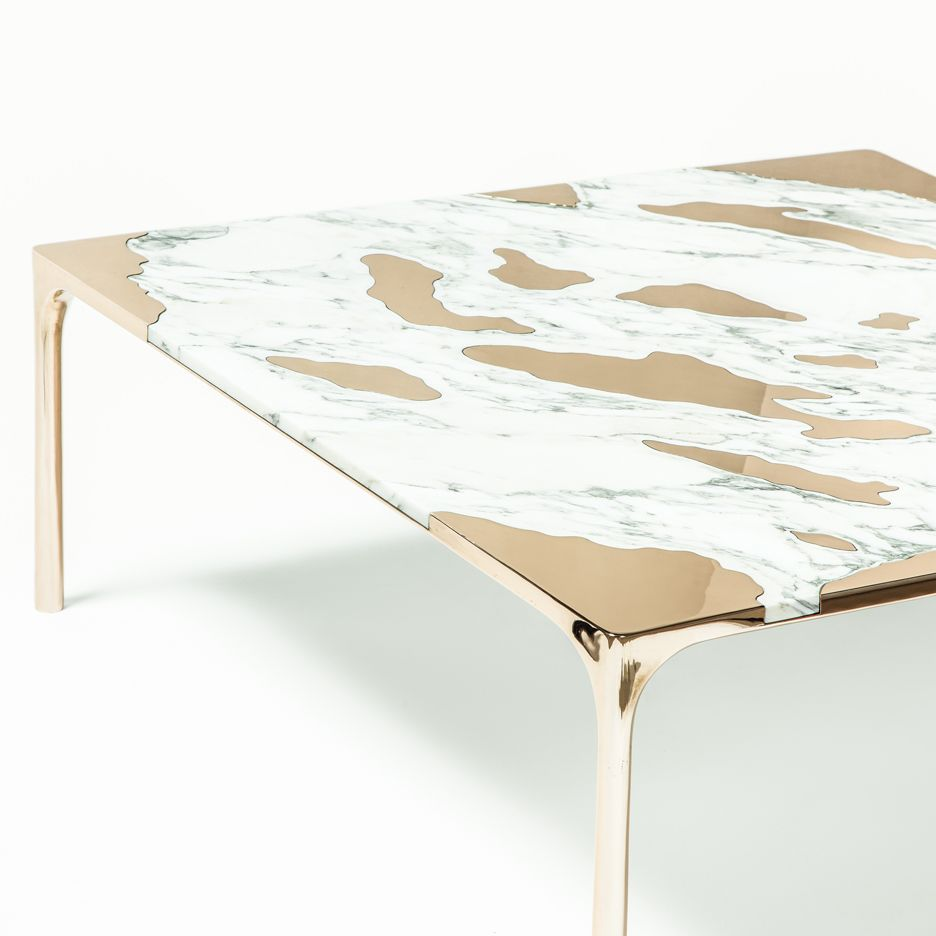 New York Marble Coffee Table: GT2P Pairs Unusual Materials In Marble Vs Bronze Coffee