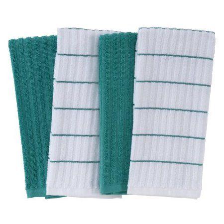 Mainstays Kitchen Towel Teal Island 4pk