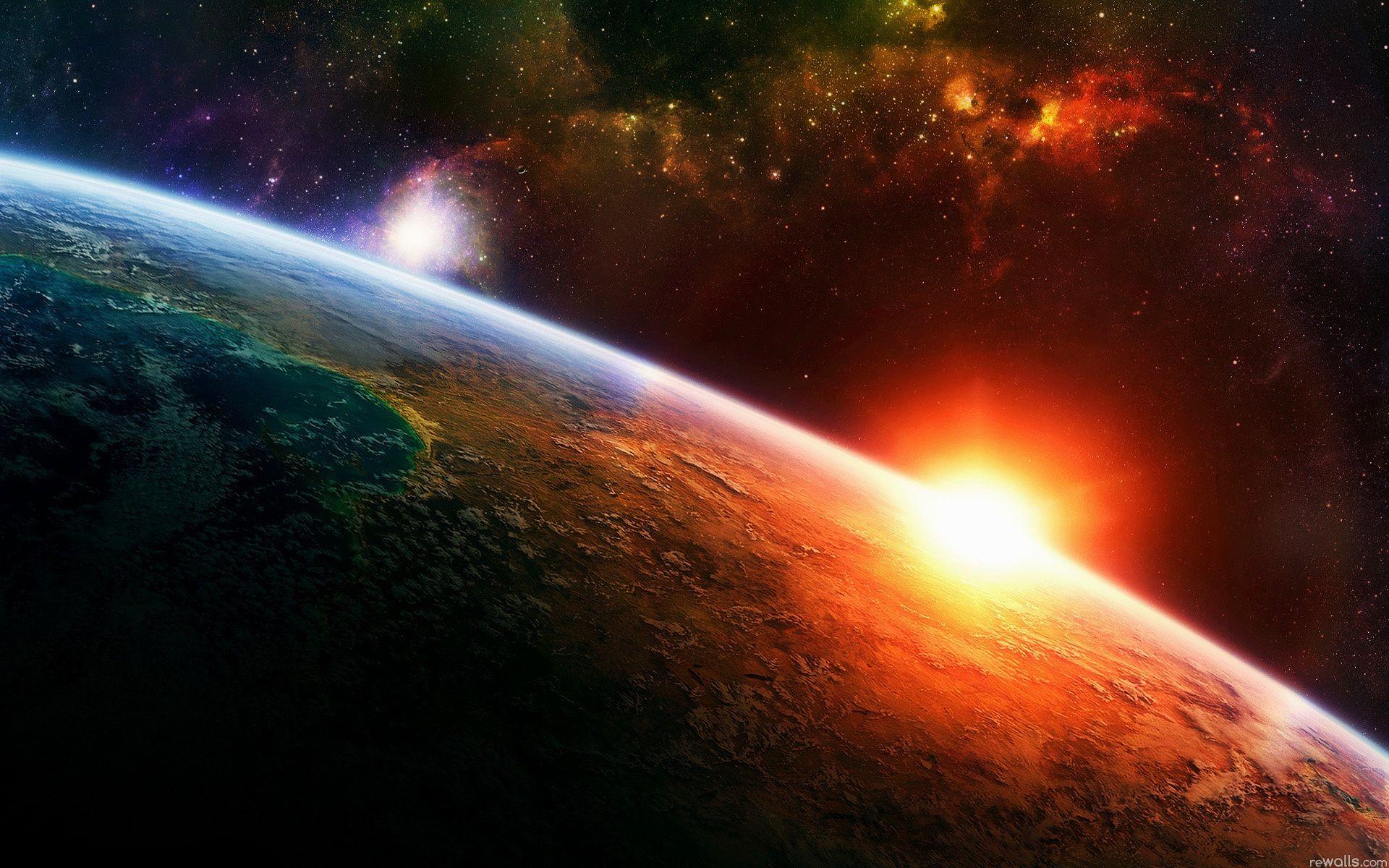 宇宙の日の出地球 壁紙 19x10 壁紙ダウンロード 日の出 イラスト プラネットアース 宇宙 壁紙