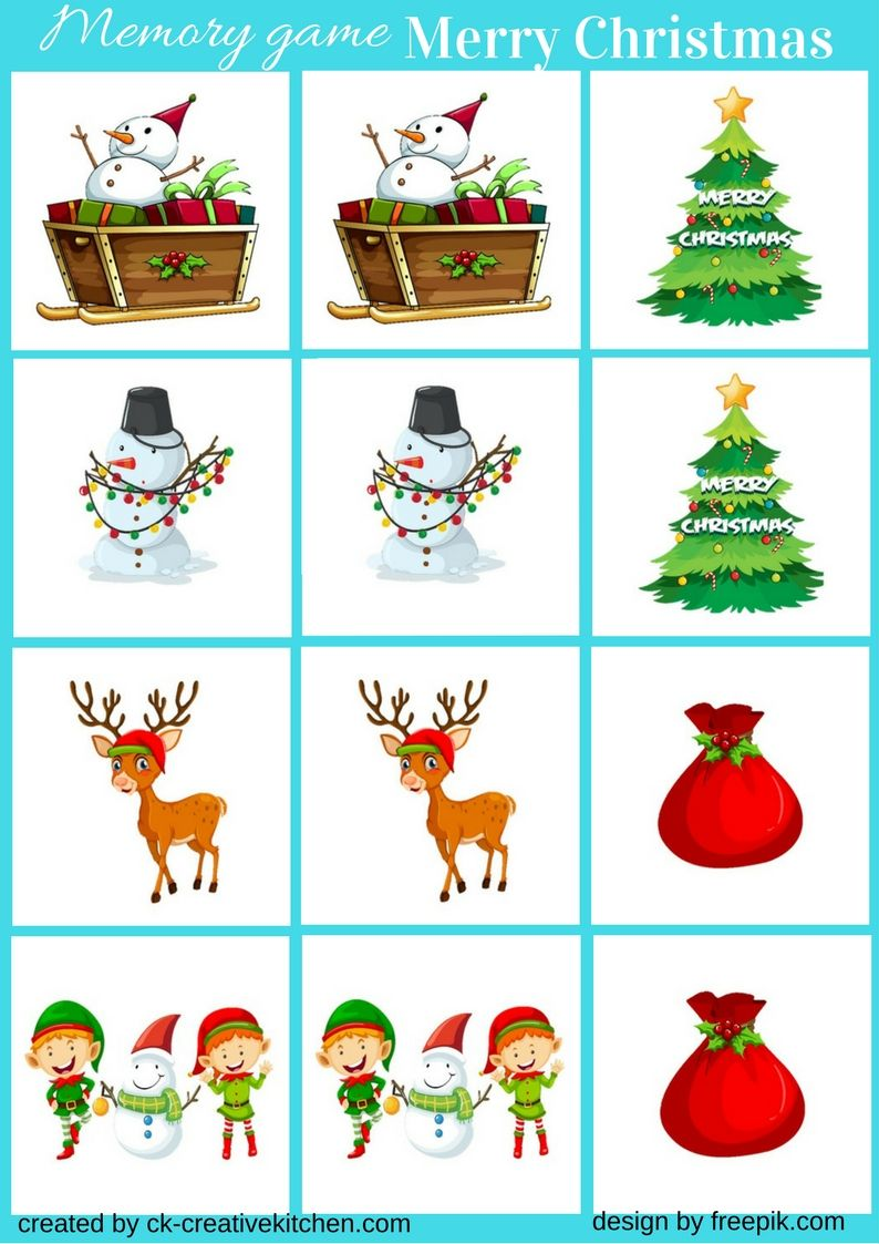 Family- and Kid-friendly Christmas Memory Printable Christmas Memory Game Easy to Print Christmas Game Fun Memory Game for Kids Christmas
