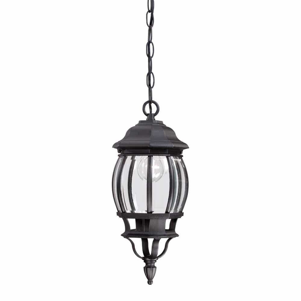 Hampton Bay 1 Light Black Outdoor Hanging Lantern House Exterior