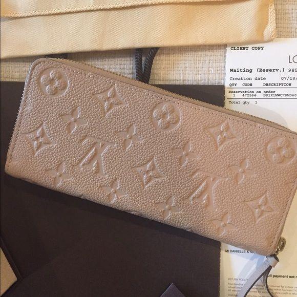 Louis Vuitton Zippered Wallet 100 Authentic W Original Box Bag Receipt Clemence Monogram Empreinte Leather 7 5x3 5 Inches Zipper