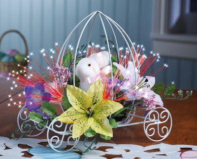 Easter Bunny Coach Fiber Optic Floral Centerpiece
