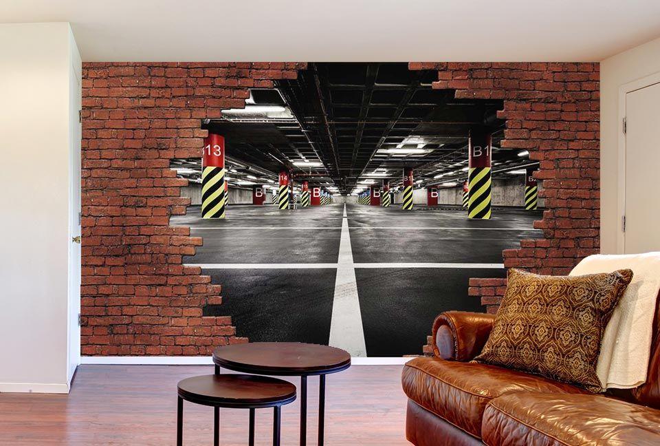 Le Mur De Briques Rouges Se Casse Pour Dcouvrir Un Garage En