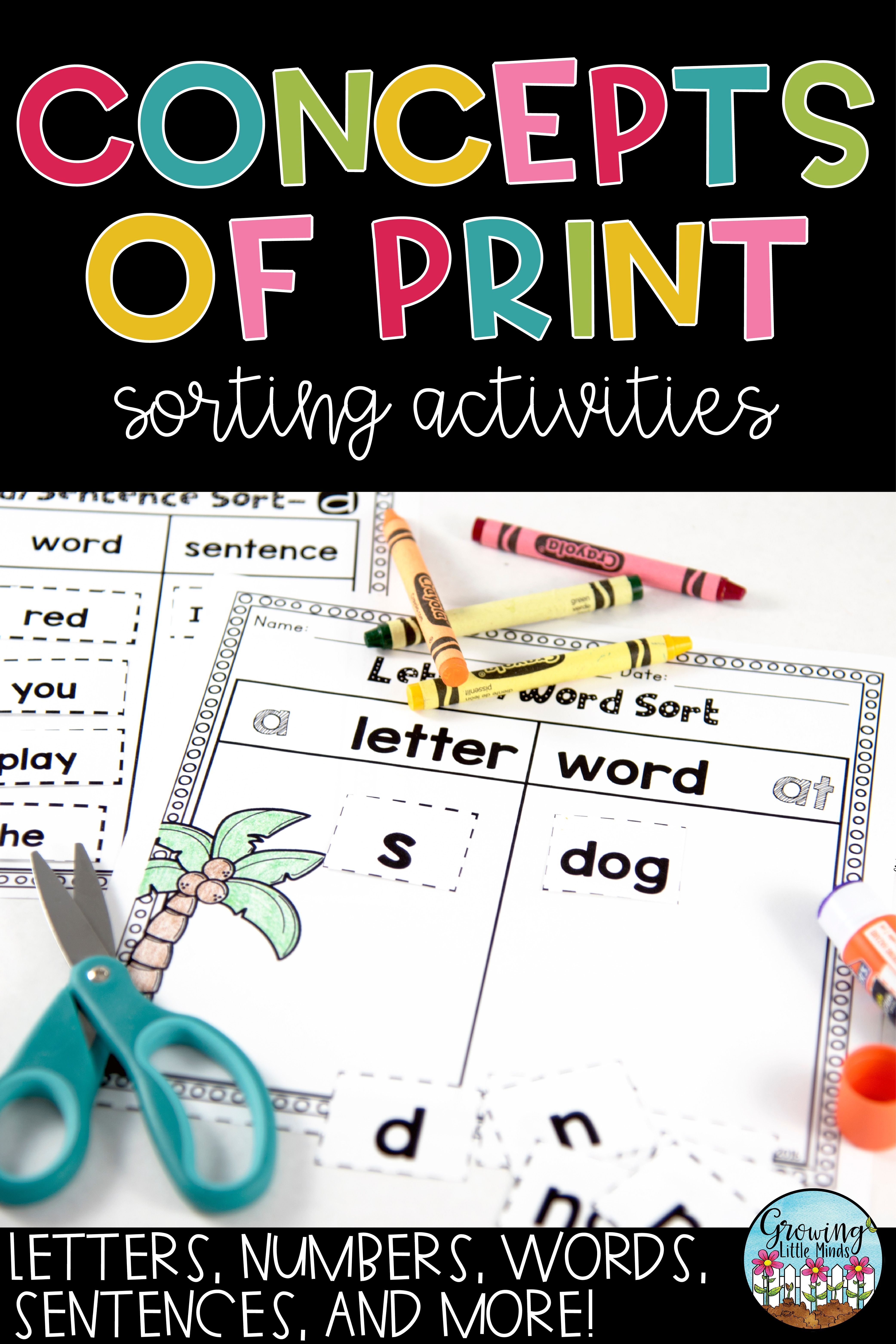 Concepts Of Print And Print Awareness Printable Sorting