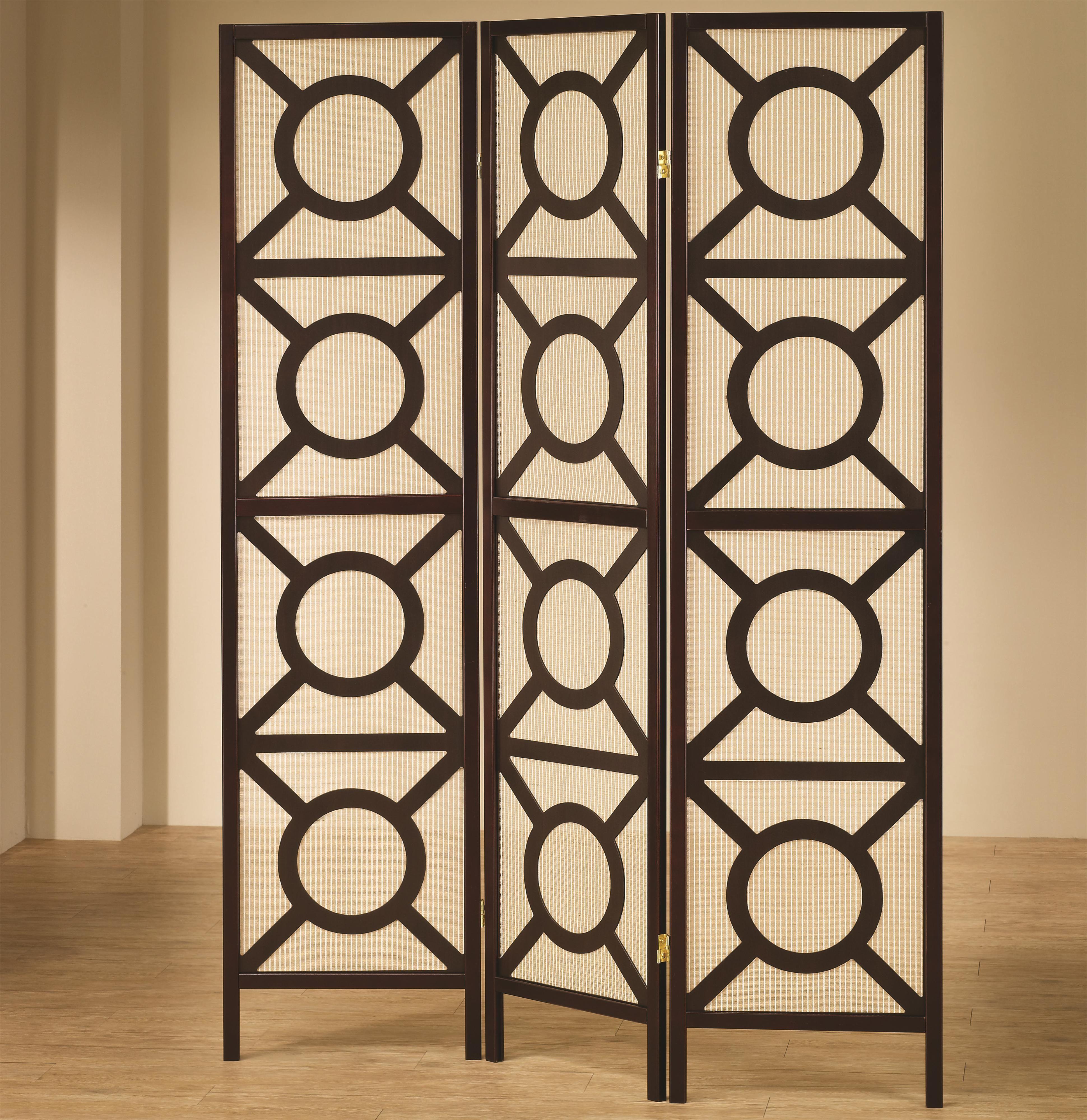 900090 Coaster 3 Panel Espresso Finish Wood Frame Room Divider Shoji Screen With Circles Design Measures Wide Panels X H