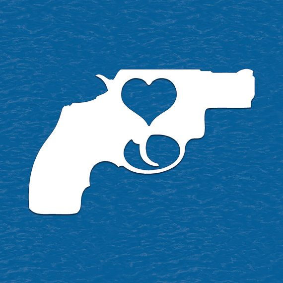 Gun With Heart Vinyl Decal Sticker Shooting by BaysideStickers, $1.79