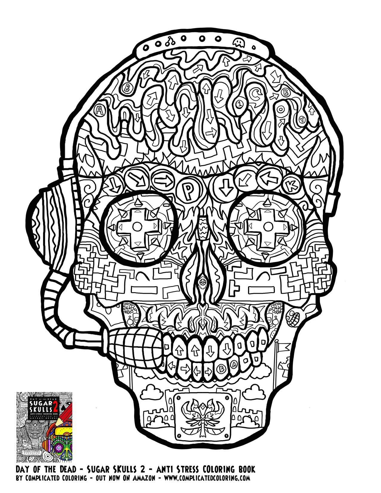 gamer sugar skull free printable coloring page complicated coloring