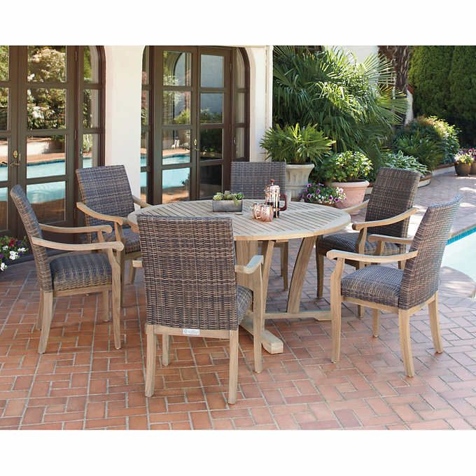 hilo 100 fsc certified teak 7 piece dining set patio