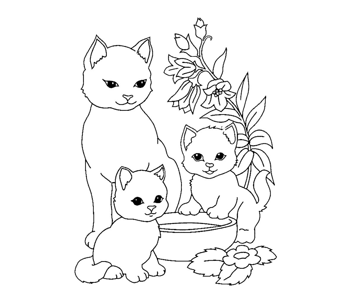 Koshechka S Kotyatami In 2020 Embroidery Clip Art Art