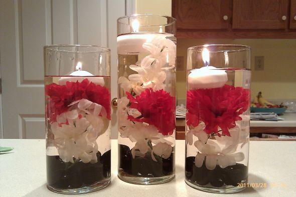 Flower Floating Candle Centerpiece V2 Wedding Black Diy Reception Red White Re Floating Flower Centerpieces Candle Centerpieces Flower Centerpieces Wedding