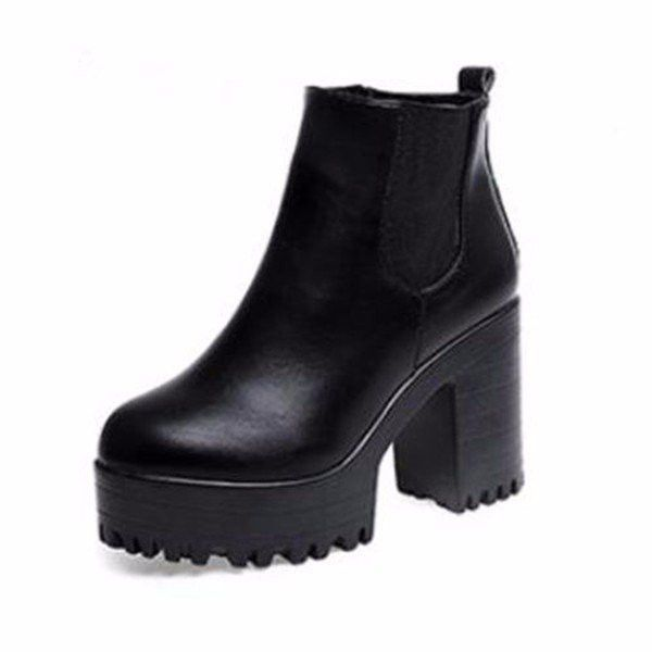 347fabbbbbc Pure Color Pu European Style Slip On Ankle Chunky Heel Block Zipper ...