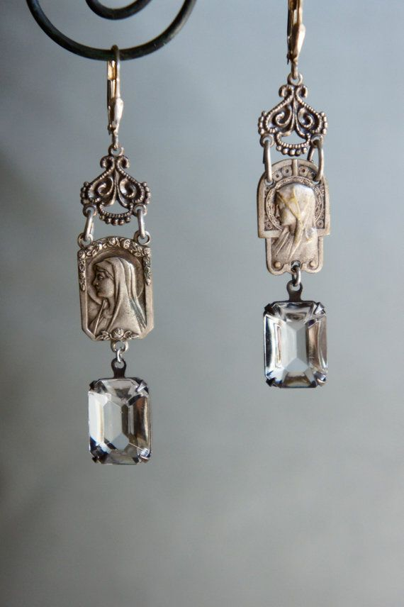 Vintage assemblage earrings silver rosary centers rosary earrings rosary jewelry assemblage jewelry- by French Feather Designs #rosaryjewelry