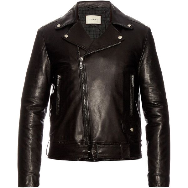 Gucci Classic leather biker jacket (15.679.265 COP) ❤ liked on Polyvore featuring men's fashion, men's clothing, men's outerwear, men's jackets, mens slim jacket, mens leather motorcycle jacket, mens slim fit jacket, mens leather jackets and mens slim leather jacket