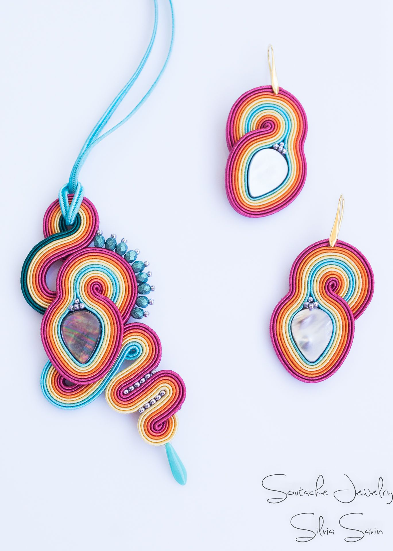 Multicolored unique handmade soutache pendant and earrings