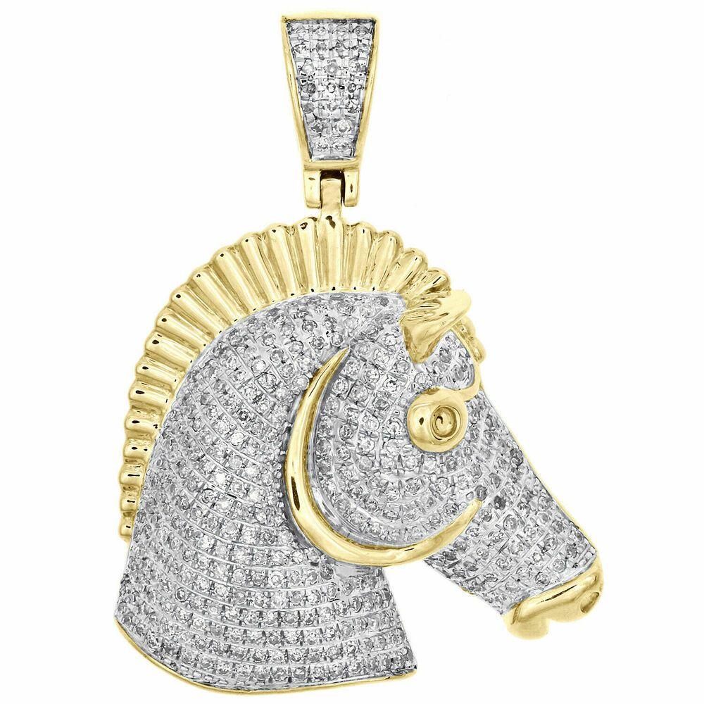 14K Yellow Gold Shiny-Cut Horse Head In Horseshoe Charm