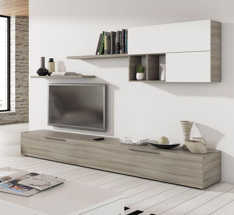 Salon de 260 cms. en color roble natur combinando con blanco brillo ...