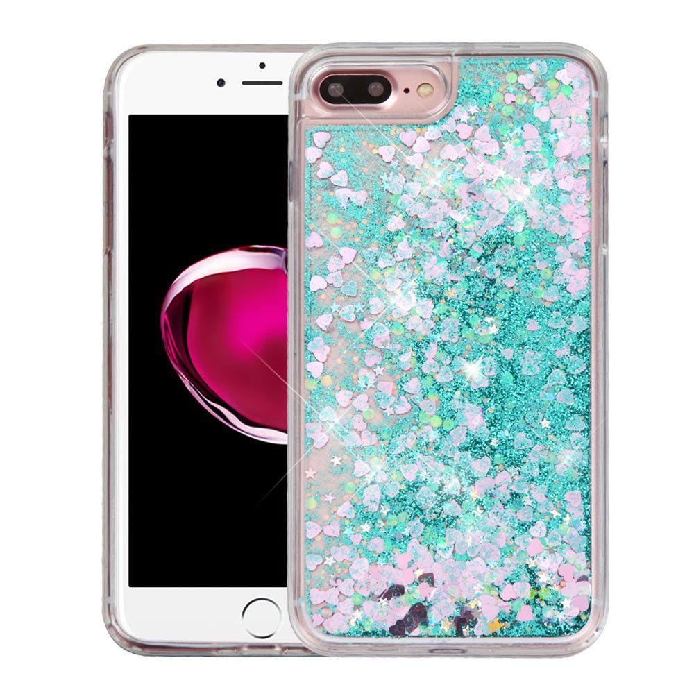 "Quicksand Liquid Crystal iPhone 7 Plus (5.5"") Case - Hearts/Green"