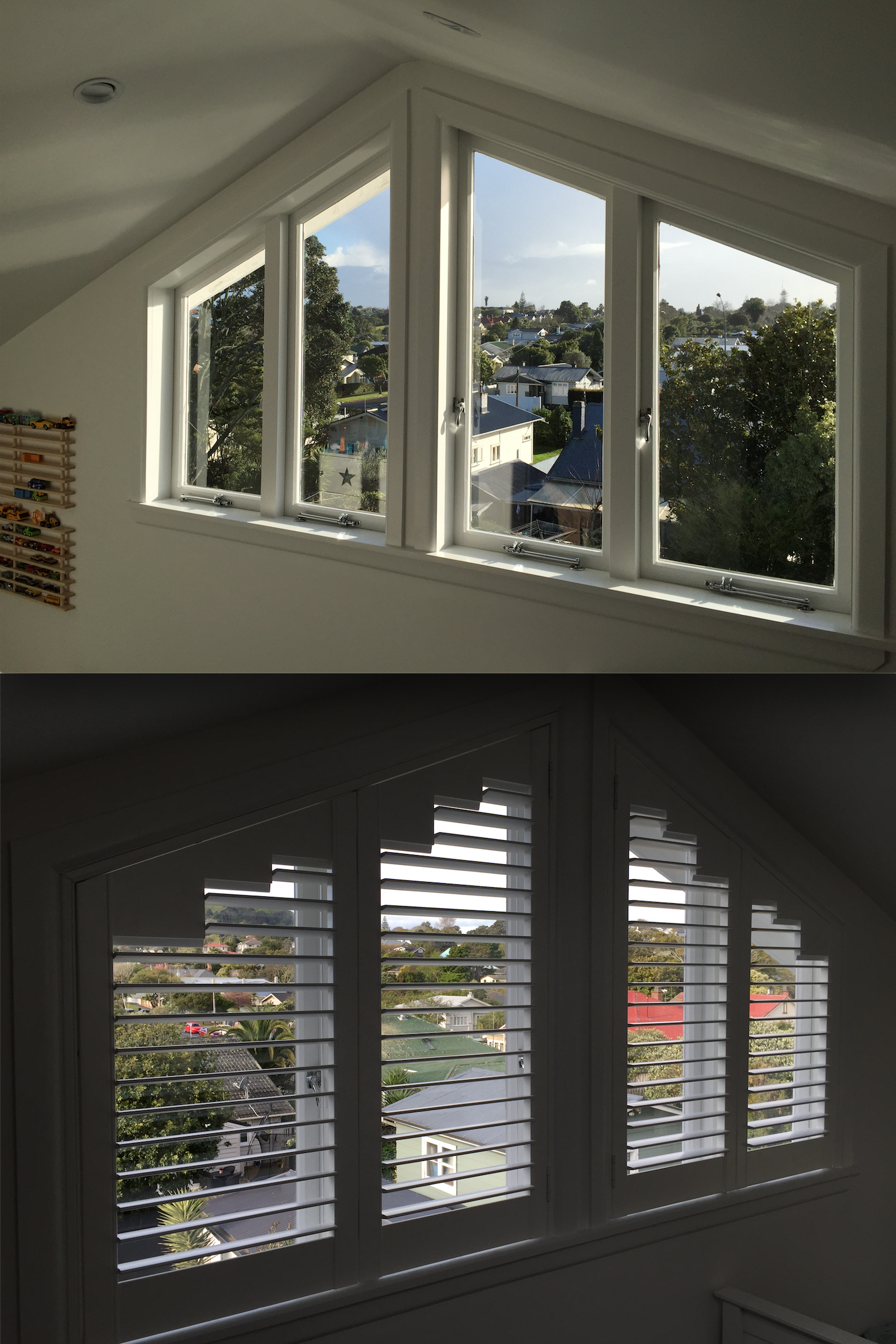 Two Sets Of Hinged Bifold Shutters With Angled Tops Give Privacy