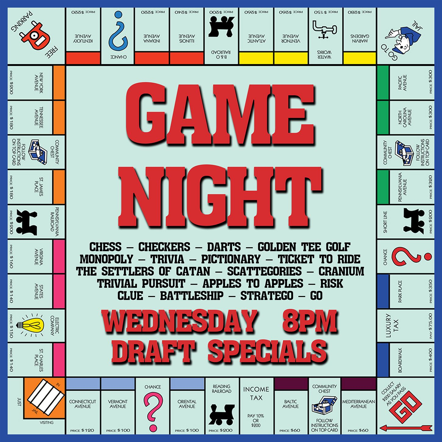game night monopoly board invitaion | Game Night Party | Pinterest ...