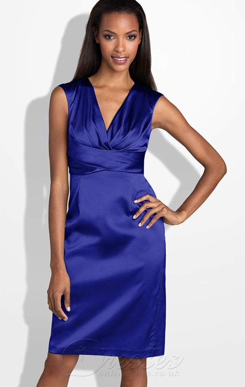 Blue sheath column vneck knee length zipper bridesmaid dresses with
