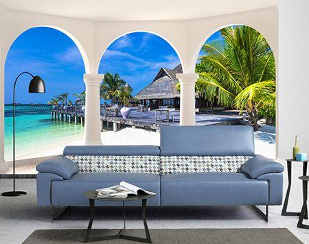 papier peint photo paysage trompe l 39 il 3d maison flottante vue depuis la terrasse en bois. Black Bedroom Furniture Sets. Home Design Ideas