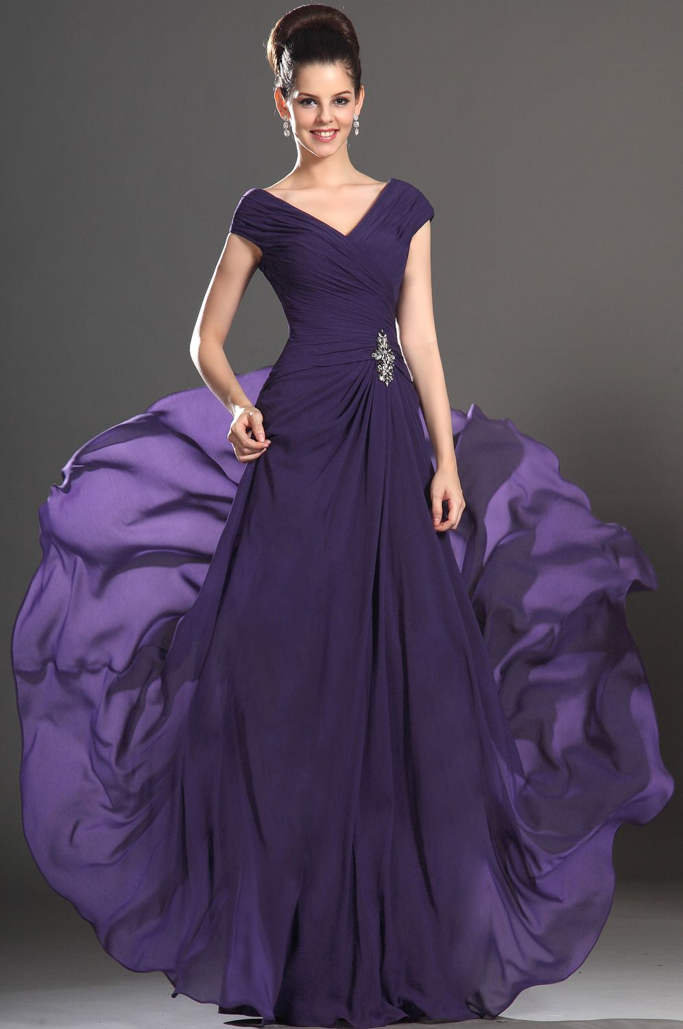 eDressit 2013 New Sexy V-neck Purple Mother of the Bride Dress ...