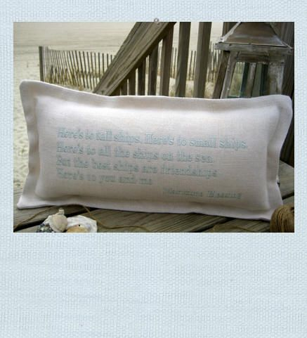 Maritime Blessing Pillow Quot Here S To Tall Ships Here S To